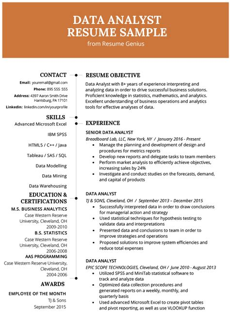 Data Analyst Resume Exle Writing Guide Resume Genius Data Analyst Resume Template