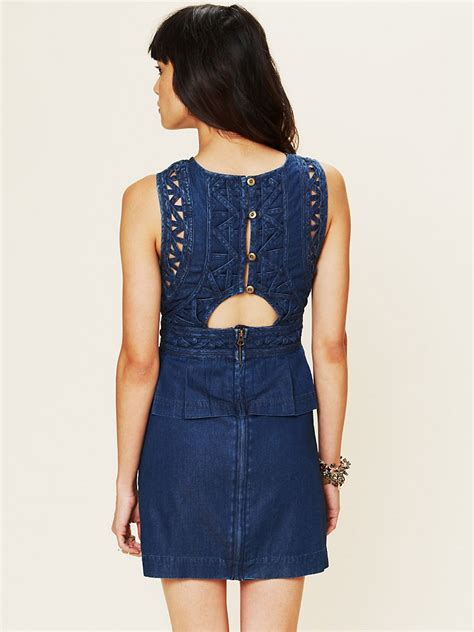 blue jean dress with boots free new romantics denim dress in blue lyst