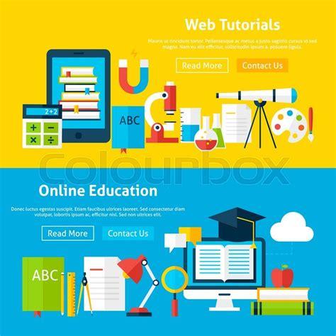 tutorial banner online web tutorials and online education flat website banners