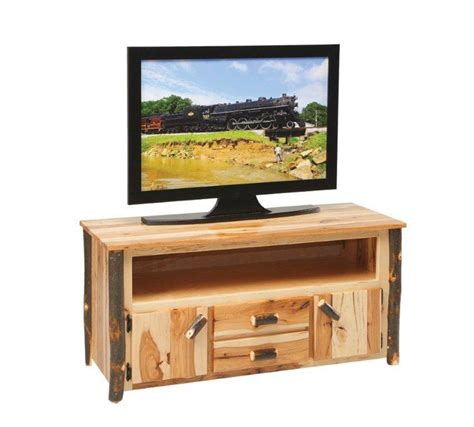 rustic tv stand amish rustic cabin hickory tv stand