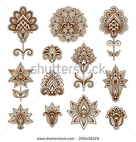 pattern ornamental tattoo ornamental flowers vector set abstract floral stock vector