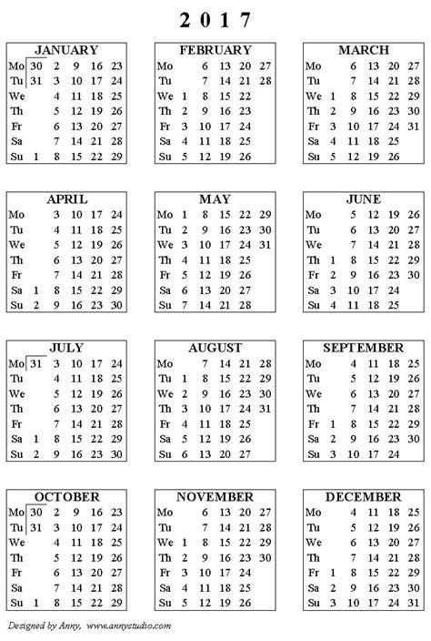 printable calendar black and white printable calendar 2017 weeks start on monday black and