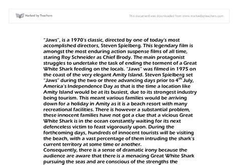 Jaws Essay by Jaws Essay Gcse Marked By Teachers