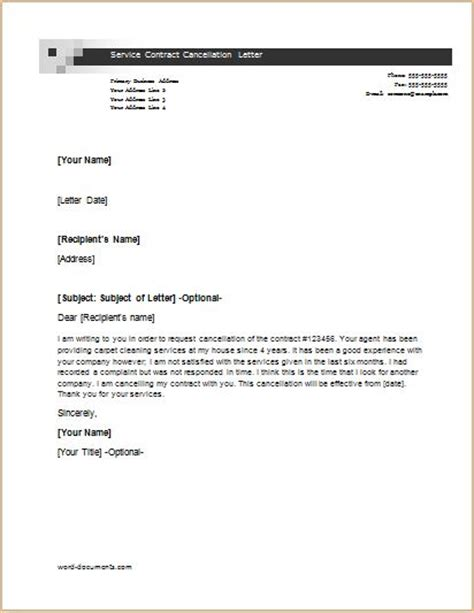 Sle Letter Cancel Contract Services Cancellation Letter Templates For Ms Word Document Templates