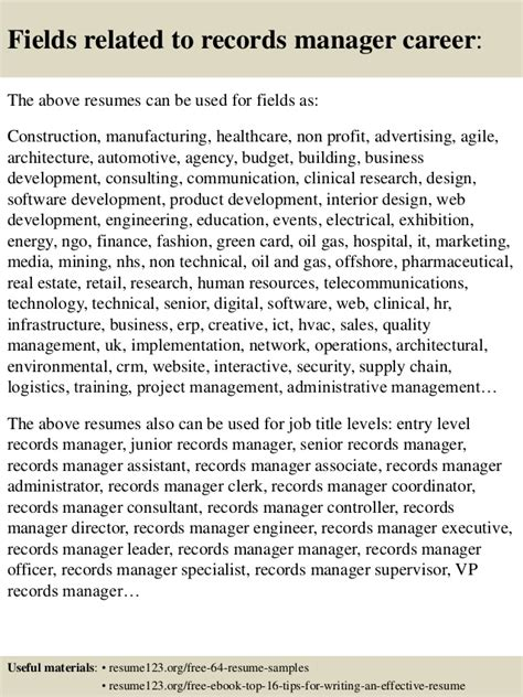 top 8 records manager resume sles