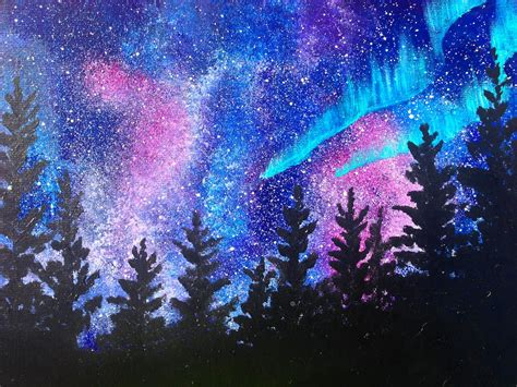 Northern Lights Painting Beginners Learn To Paint Acrylic Aurora Borealis