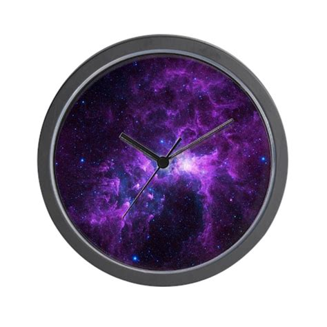 galaxy clock purple galaxy wall clock by listing store 126928031