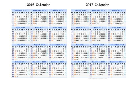 2 Year Calendar 2016 And 2017 Calendar Printable 2 Year Calendar