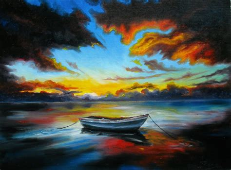 boat paint pictures oil painting by lana kanyo quot sunset on the lake quot youtube