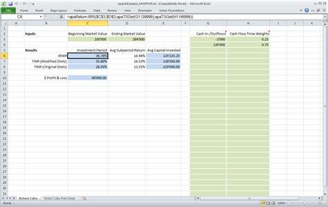 Advanced Portfolio Analytics Library Net Apalibnet Money Weighted Return Excel Template