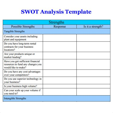swot analysis free template word 7 free swot analysis templates excel pdf formats