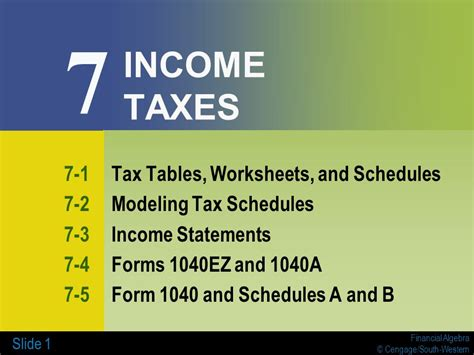 schedule a sales tax table 7 income taxes 7 1 tax tables worksheets and schedules
