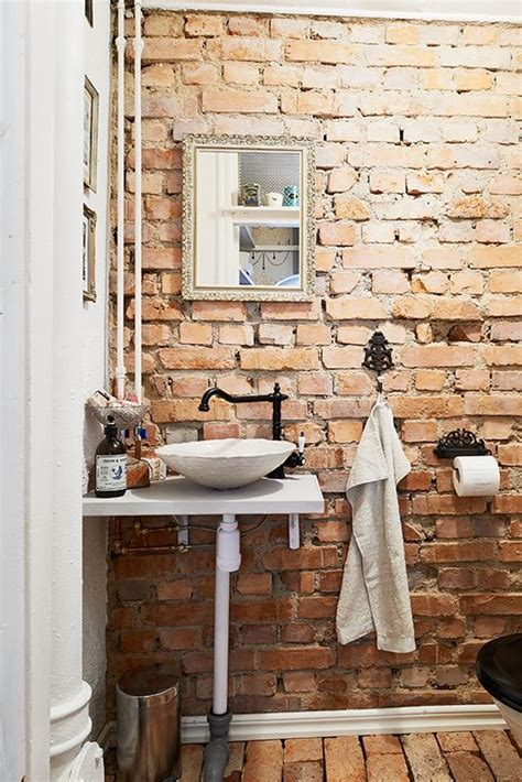 brick wall rustic bathroom home sweet home pinterest