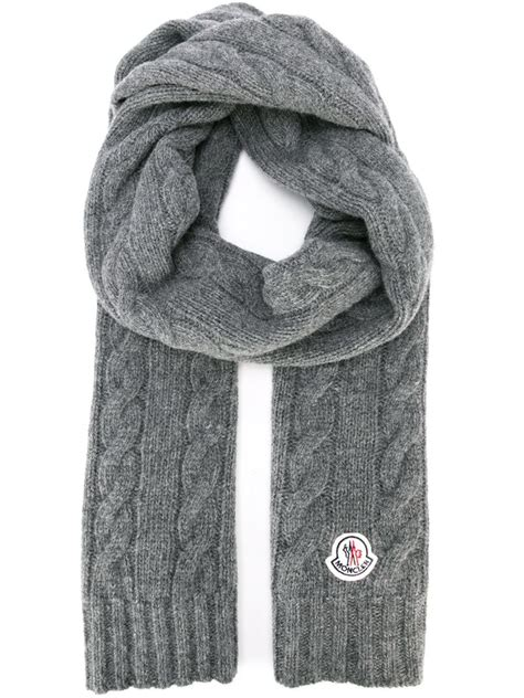 Moncler Cable Knit Scarf In Gray For Lyst