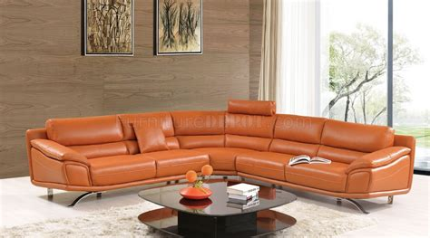 orange sectional sofa 531 533 sectional sofa in orange leather by esf w options