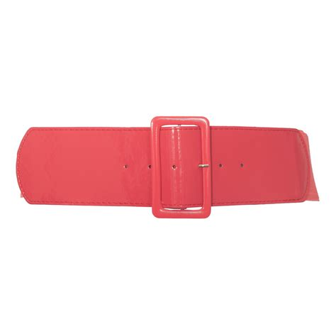 plus size wide patent leather fashion belt coral evogues