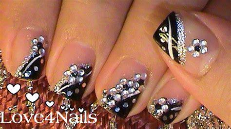 imagenes uñas blancas decoradas u 241 as de noche negro con piedras youtube