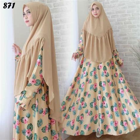 Baju Busana Muslim Gamis Syari Coklat Motif Bunga Bergo In syari maxmara motif bunga c871 baju muslim cantik