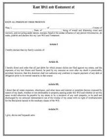 California Last Will And Testament Template by Printable Sle Last Will And Testament Template Form