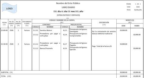 ejemplo libro diario contabilidad registro contable en libro diario para 243 rganos