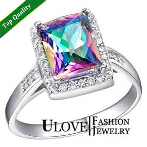 colored engagement rings 925 sterling silver simulated multi color