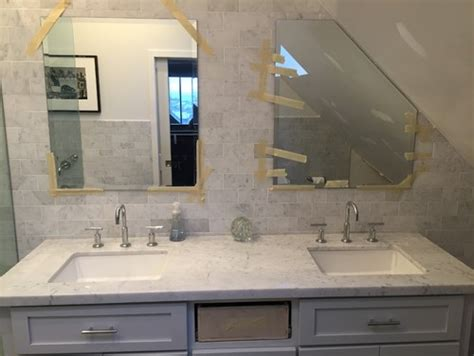 mirrors over bathroom sinks need help with mirrors above double in master bath