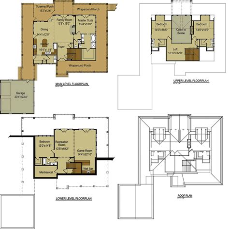 cottage plan lake house plans with loft floor cabin small