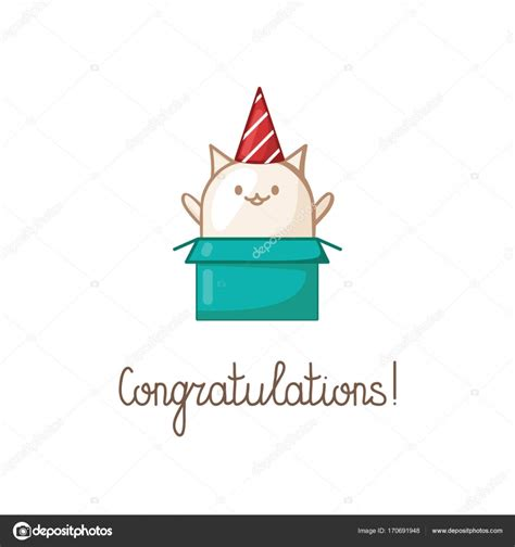 congratulations gift card of a small cute white kitten
