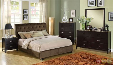 lemoore brown platform bedroom set with padded velvet