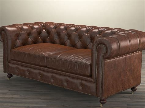 Kensington Leather Sofa 72 Quot The Kensington Leather Sofa 3d Model Restoration Hardware