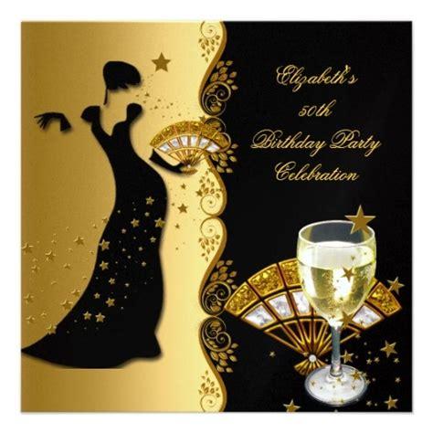 themes of black woman elegant lady 50th birthday party gold black wine card