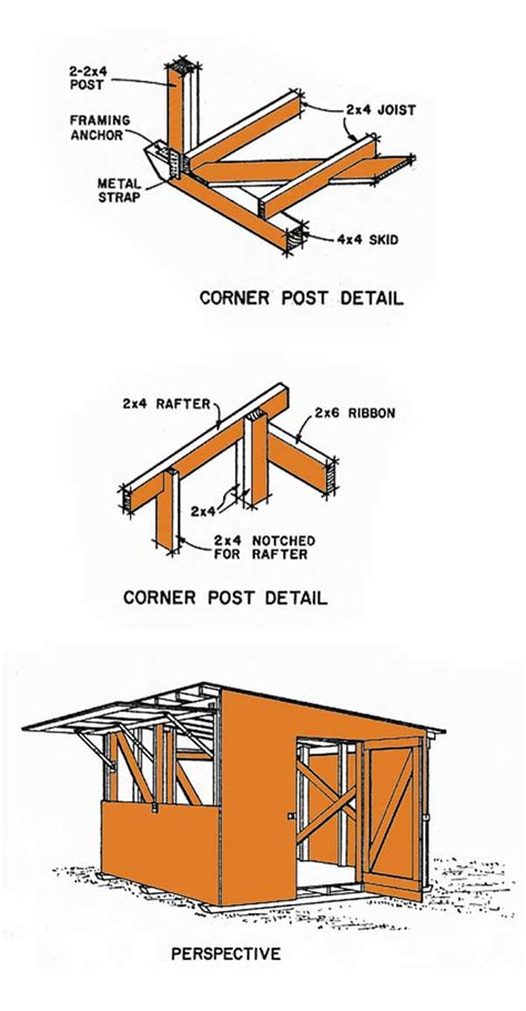 lean  storage shed plans constructing  lean  shed