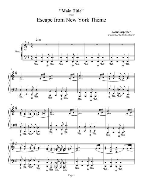 theme music escape from new york escape from new york main title john carpenter piano