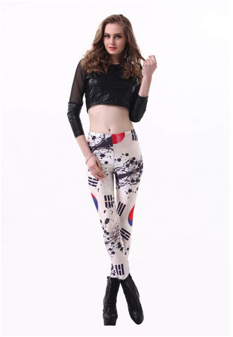 Dress Spandex Korea Import korean flag s digital printing high spandex black milk