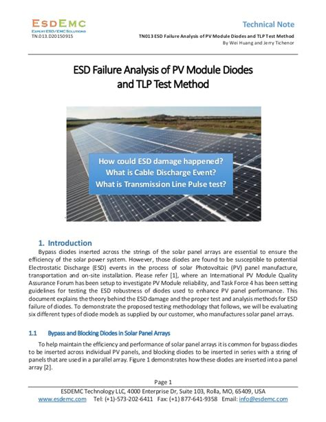 schottky diode esd failure tn013 esd failure analysis of pv module diodes and tlp test method