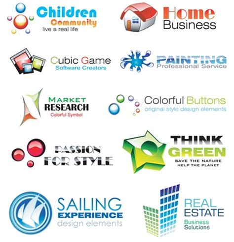 design elements names 10 glossy and colorful logo design elements free vector