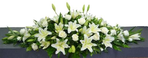 White Lily Vase Coffin Spray Of White Lilies And Roses Maddisons Florist