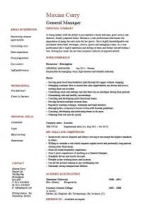 general manager resume cv exle description