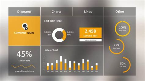 Blur Dashboard Slide For Powerpoint Slidemodel Powerpoint Dashboard Template Free