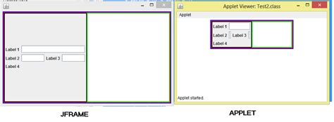 swing vs applet swing java applet size behavior vs jframe size behavior