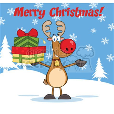 royalty  clip art merry christmas greeting  rudolph reindeer holding   stack