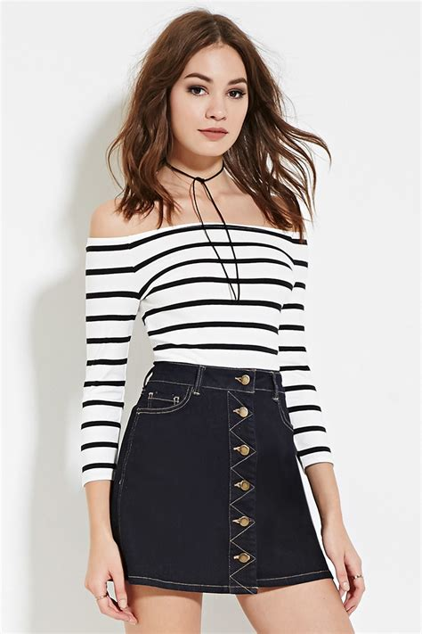 Striped On Shoulder Top forever 21 striped the shoulder top in white lyst