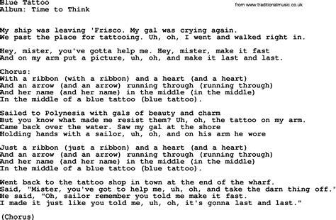 tattoo lyrics with chords kingston trio song blue tattoo lyrics