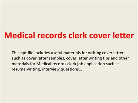 Record Clerk Cover Letter by Cover Letter For Records Cl