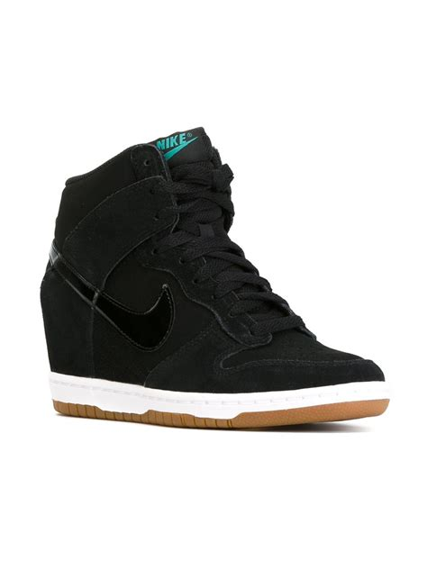 nike dunk sky hi top sneakers in black lyst