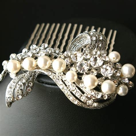 pearl and crystal hair comb wedding hair comb bridal hair accessories pearl