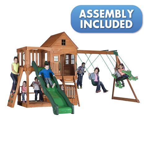swing sets assembly included backyard discovery pacific view all cedar swingset