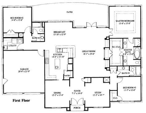 1 5 story open floor plans simple one story house plan house plans pinterest