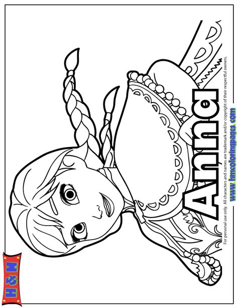 pretty anna of disney film frozen coloring page h m