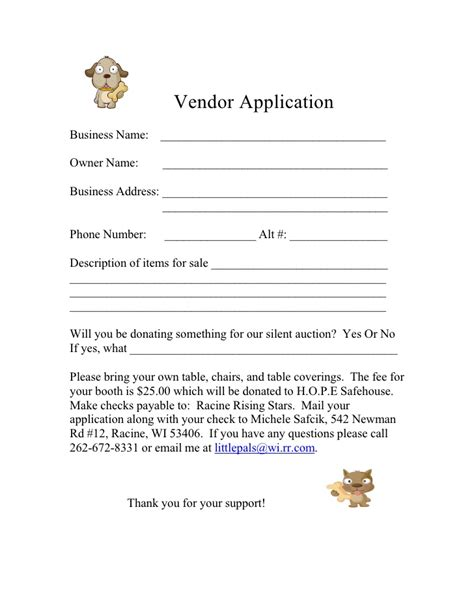Form For 2009 Vendor Application Vendor Website Template